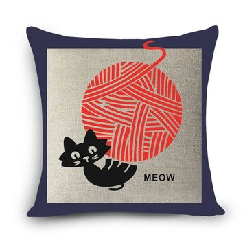 Quality pillow cartoon cat MEOW printed for kids room Decor cotton linen home decorative pillows 45x45cm seat back cushions MYJ