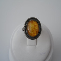 Sterling Silver 925 Etched Setting Amber Ring Size 5.5