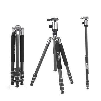 ZOMEi Z818C 65 Inch Light Weight Carbon Fiber Tripod Monopod with Fluid Ball Head For Canon Nikon Pentax Sony DSLR Cameras (Silver)