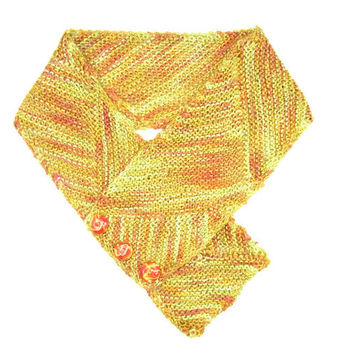 Shimmery Sunset  Scarf, Orange, Gold, Rust, 100% Bamboo Yarn, Hand Knit, Hand Dyed