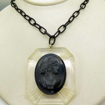 Art Deco Carved Black Celluloid Cameo and Chain Necklace