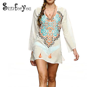 Swim Cover up Tunics for Beach Embroidery Beach Coverup Tunicas Para Playa Bathing Suit Cover ups 2017 Pareo Bikini cover up