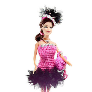 Hand crochet Black Swan Dress, barbie doll clothes, fashion doll clothes, doll outfit, doll clothes, Ken, barbie toys, barbie accessories