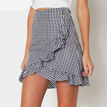 Plaid Ruffle High Waist Skirt