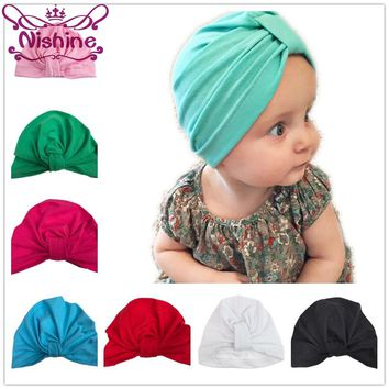 Nishine Baby Turban Hat with Bow Children Hat Cotton Blend Newborn Unicorn Beanie Top Knot Kids Photo Props Baby Shower Gift
