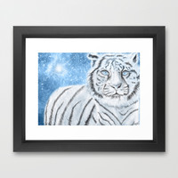 Ethereal White Tiger Framed Art Print by Susaleena
