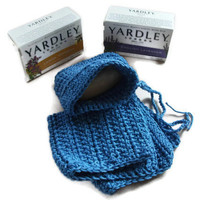 Cotton Wash Set with Soap in Blue. Bath and Shower Gift Set, Bathroom Accessories, Free UK P&P.