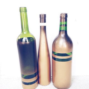 Upcycled Wine bottles - Spray Painted Glass Bottles - Black and Gold Home Decor- Set of #
