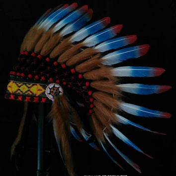 PRICE REDUCED Native American Headdress, Indian Warbonnet, Feather Headpiece, Native American Clothing