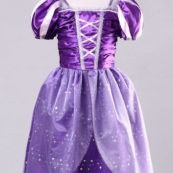 2017 Hot Kids Girls Tangled Rapunzel Princess Costume Dress Up Halloween Dress Age 3-10T