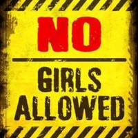 No Girls Allowed Yellow Metal Parking Sign