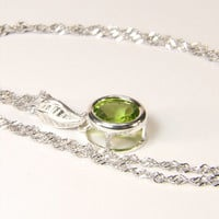 "Flawless Peridot, 8mm x 2.25 Carat, Round Cut, Sterling Silver Pendant Necklace, including 18"" to 20"" (adjustable) Sterling Chain"