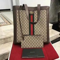 GUCCI Fashion Women Shopping Bag Leather Handbag Bag Wrist Bag Two Piece Set