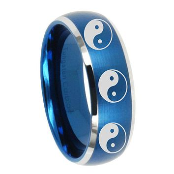 10mm Multiple Yin Yang Dome Brushed Blue 2 Tone Tungsten Carbide Engraved Ring