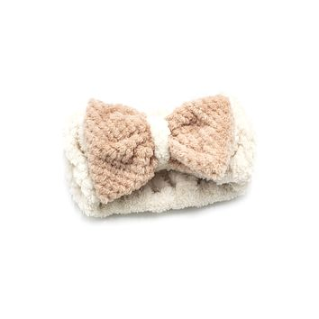 Women's Cosmetic Headband, Cream with Gingham Style Bow, by MinxNY