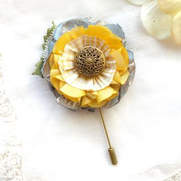 Boutonniere Flower Pin - Blue and Yellow