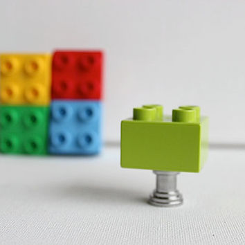Kids Drawer Knobs made with Toy Brick in Lime Green (TK03)