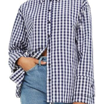 Topshop Double Cuff Gingham Shirt | Nordstrom