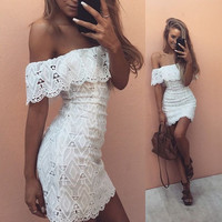 Fashion Off Shoulder Solid Color Frills Strapless Lace Tight Pack-hip Mini Dress