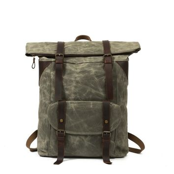 Vintage  Waxed Waterproof Canvas and Leather laptop computer Backpacks Vintage Leather Laptop Backpack Rucksack