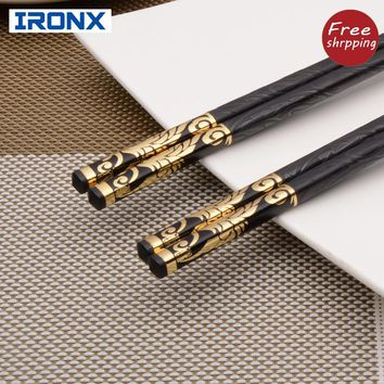 IRONX  Luxury Household sushi Chopsticks Tableware dinnerware Alloy black chop sticks Chinese Style for gift. (27cm)