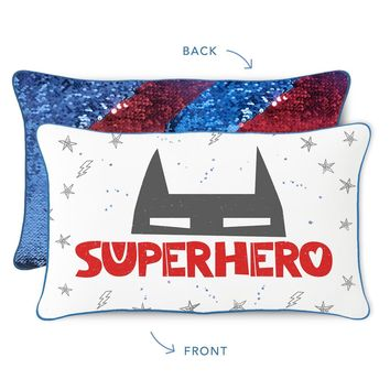 SUPERHERO Pillow w/ Reversible Blue & Red Sequins