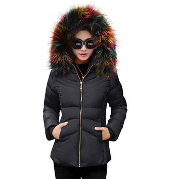 Winter coat Women 2017 Autumn Winter Jacket Women Parkas For Coat Fashion Female Down Jacket Fake Fur Collar Hooded Female Coat