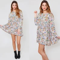 Vintage 80s BABYDOLL Dress Long Sleeve Grunge FLORAL Loose Fit Mini Dress