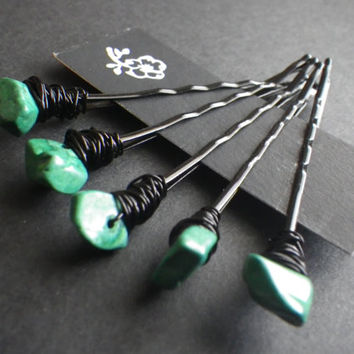 Malachite- Green- Radiation Protection- Crystal Healing- Hair Fashion Accessory- Summer Trends- Beaded Bobby Pins- Gift for Her- Birthday