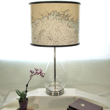 Coast of Maine Chart, Drum Lamp Shade, Boston to St. John New Brunswick Cananda, Blue and White Lamp Shade Nautical Chart Map, Beach Decor