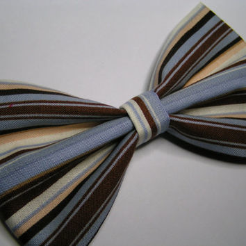 Blue and Brown stripe fabric Hair Bow, hair bow, Large Hair Bow for teens and women, Kids hair bows, Hair bows
