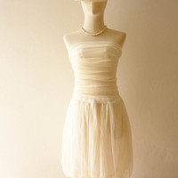 Vintage Inspired- Tutu Pretty Pumpkin Skirt Cocktail Dress in Gorgeous Cream so Easy to Wear Fit S/M
