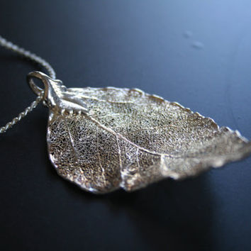 leaf necklace, dipped silver leaf pendant necklace and chain, SMALL LONG,