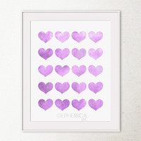 Lavender purple hearts art print, Girly wall art Girls room decor Baby purple decor wall print, Light Purple PRINTABLE wall art print