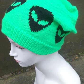 Grunge Knitted UFO Alien Hat, Slouchy Hat, Green And Black.