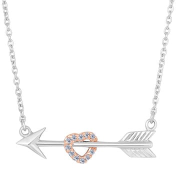 Sterling Silver Arrow With Rose Tone Finish Cz Heart  Necklace - 18 Inch