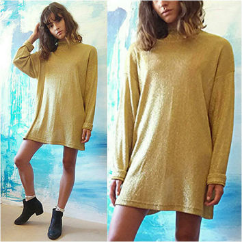 Women's VTG 1990s Gold Dress Top // Womens Gold Tunic // Micro Mini Dress / 90's 90s Vintage Sparkle Gold Top // Women's Gold Turtleneck