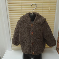 Baby Hand Knitted Cardigan With Hood, Hoody Handknited Baby Cardigan, Brown Baby