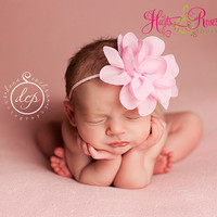 Pink Baby Headband..Shabby Chic Baby Headband.Newborn Headband..Infant.Vintage Inspired Baby Girl Headband..15% Off ur order.Ready 2 ship