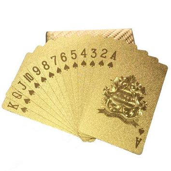 New Golden Playing Cards Game Luxury Gold Foil Poker Set Grid Plastic Foil Poker Durable Waterproof Cards Black Radiation