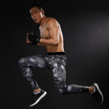 Free Shipping Men Compression Long Pants Crossfit Fitness Base Layers Skins Tights Army Camfoulage Excercise Male Trousers