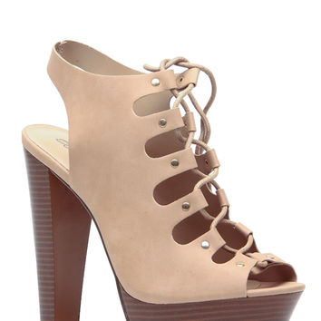 Natural Faux Leather Open Toe Lace Up Chunky Platform Heels