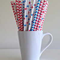Paper Straws - 25 Red, White, and Blue Star and Chevron Patriotic Party Straws 4th of July Military Memorial Day Summer BBQ Wedding