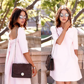 Light Pink Backless Short Sleeve Mini Dress