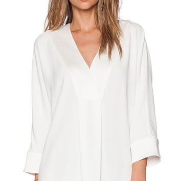 RACHEL ZOE Lane V Neck Top in White