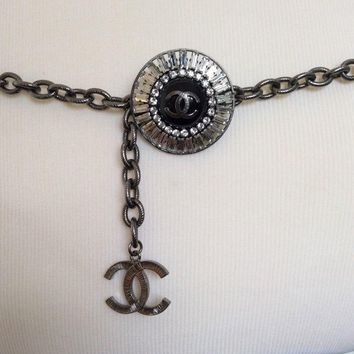 Authentic Chanel Gunmetal Silver Tone Chain Belt Crystal Baguette Charm