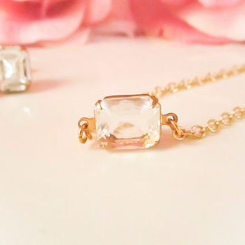 Crystal Clear Swarvoski Gem Necklace, 14k Gold Filled Chain, Vintage, Dainty Necklace, Bridesmaid Gift,Spring Wedding, Bridal,Minimalist
