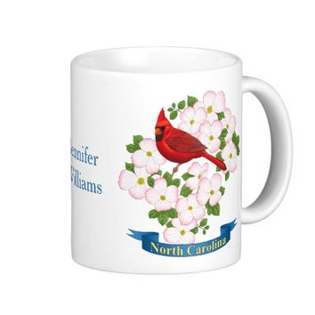 North Carolina State Cardinal Bird Dogwood Flower Coffee Mug