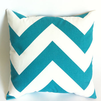 "Set of 2 Turquoise Chevron Pillow Covers 18x18"" Teal Accent Pillow"
