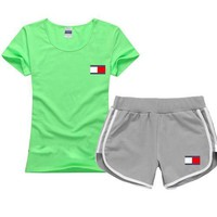 Tommy Hilfiger Women Men Casual Sport T-Shirt Top Tee Shorts Set Two-Piece-4
